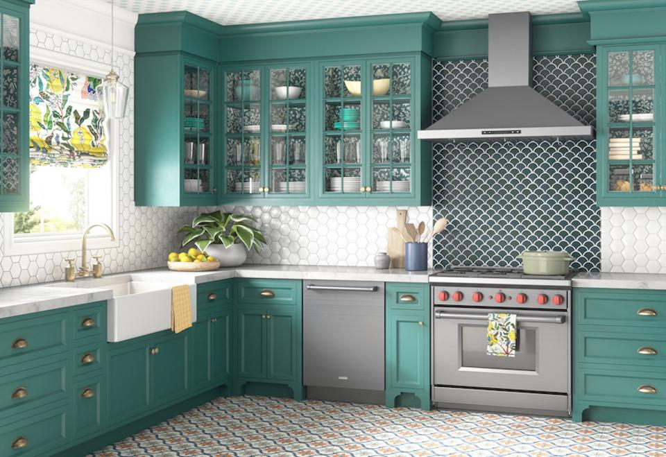 A kitchen with turquoise cabinetry.