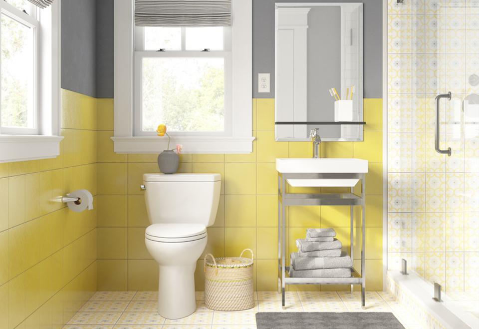 A yellow white and grey bathroom