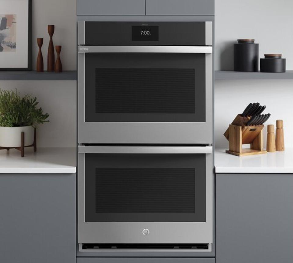 GE Profile Smart Appliances Built-in 27″ Self-Cleaning Convection Electric Double Wall Oven with grey cabinetry