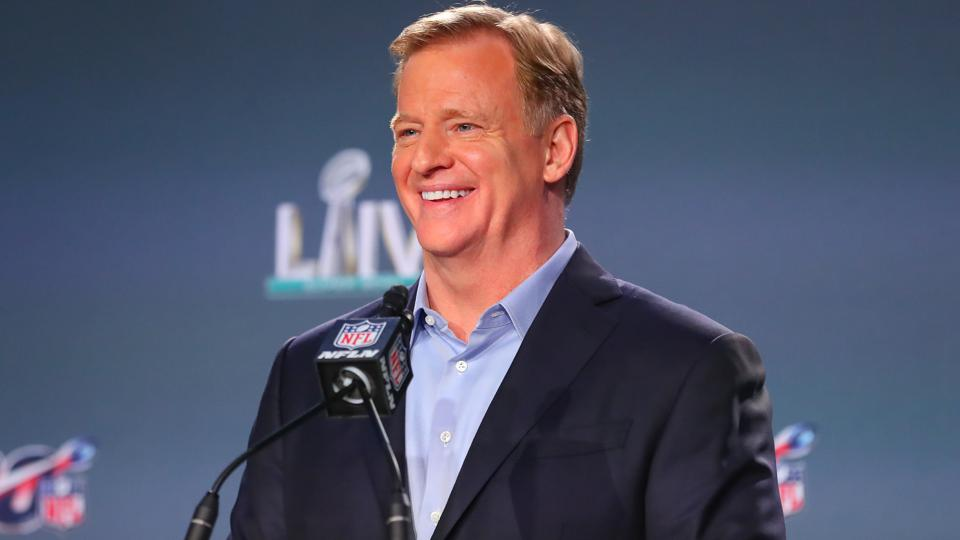 Roger Goodell while attending a Super Bowl LIV press conference.