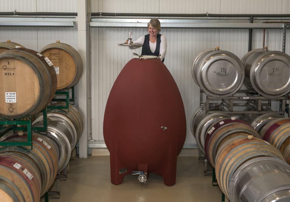 Winemaker Kathleen Inman checks an egg-shaped tank at Inman Family Wines.