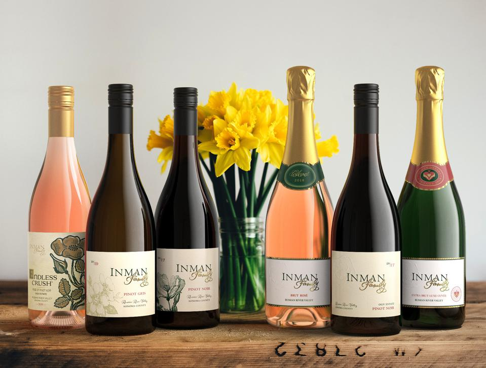Bottles of Inman Family Wines including Endless Crush Rosé, Pinot Noir, and sparkling.