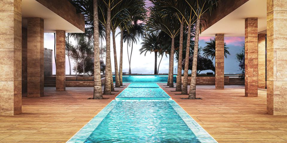 The water feature at One at Palm Jumeirah.