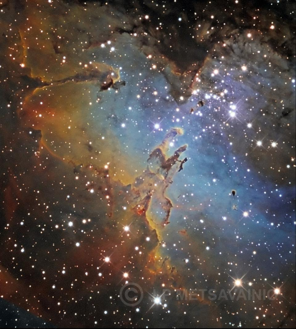This wide-field view of the Eagle Nebula, Messier 16 (M16), showcases many iconic features