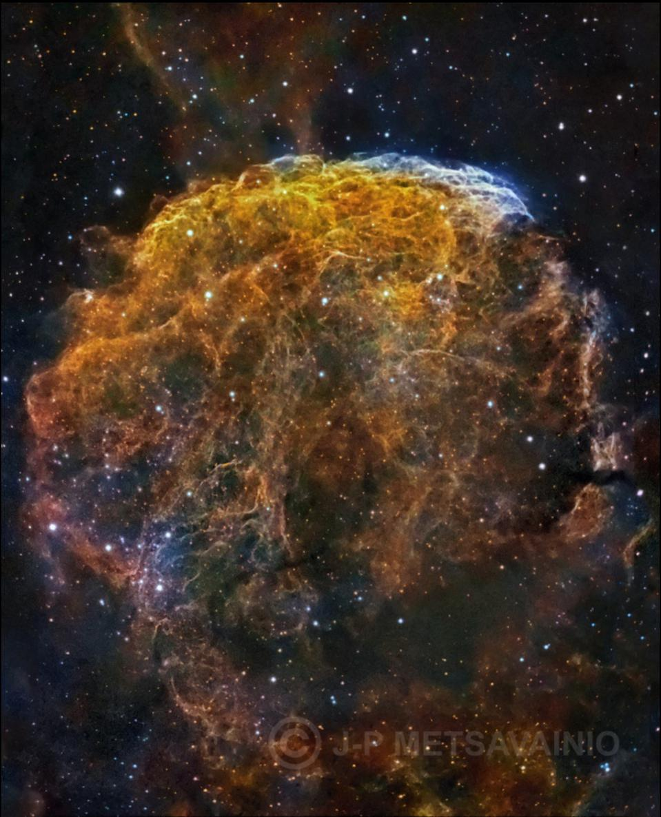 This galactic supernova remnant is a composite of three separate exposure sets.