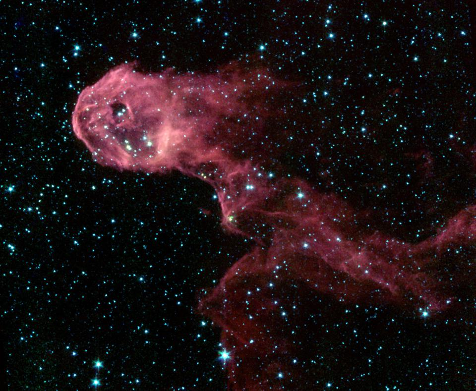 Infrared view of the Elephant's Trunk Nebula from NASA's Spitzer Space Telescope.