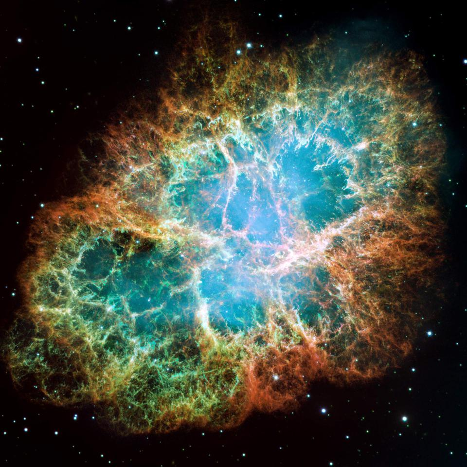 The expanding filaments of M1, the Crab Nebula, are powered by the central pulsar's wind.