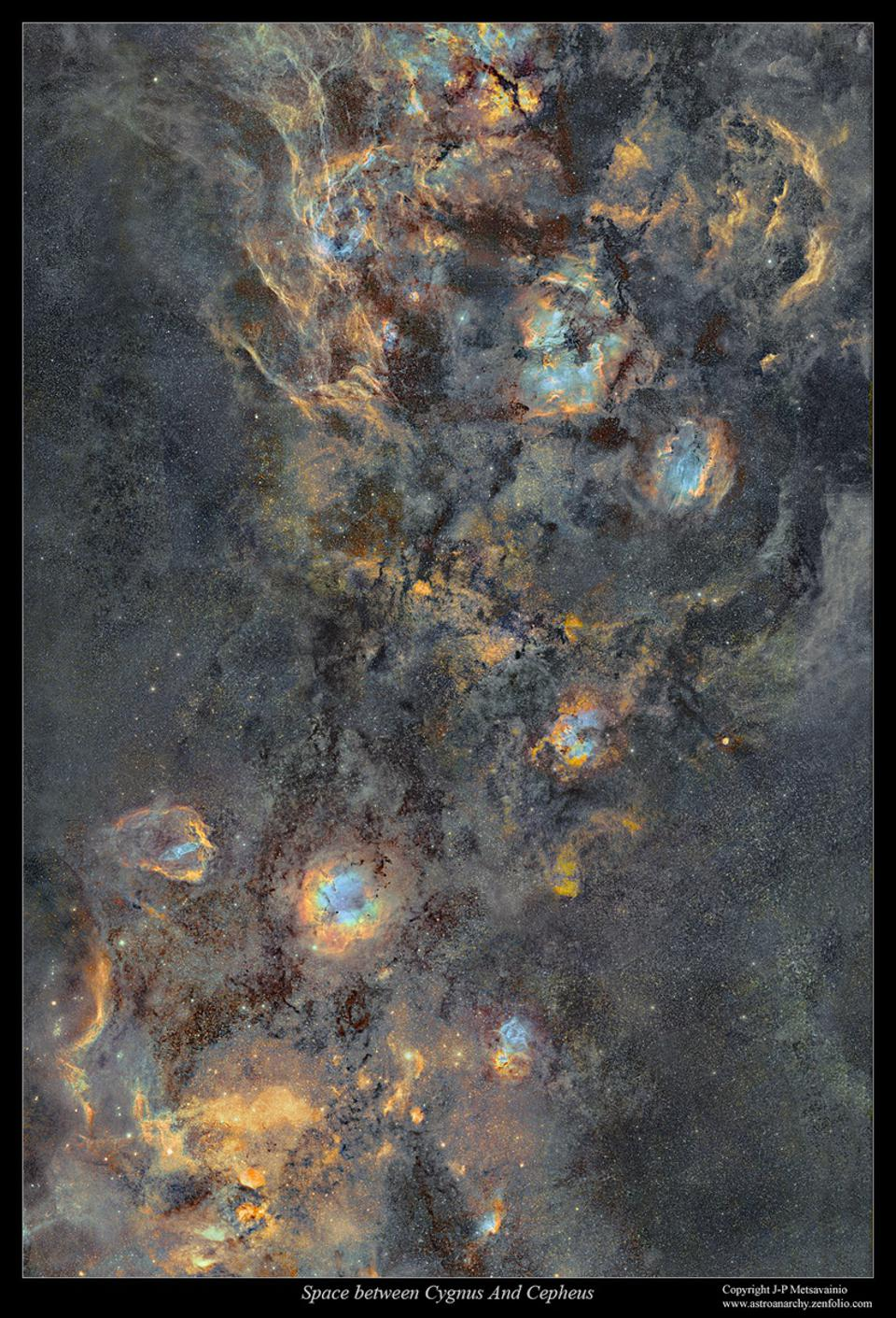 This mosaic shows the region between the constellations of Cygnus and Cepheus.