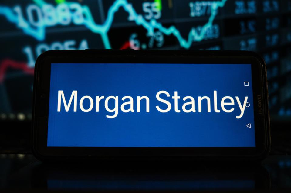 In this photo illustration a Morgan Stanley logo seen...