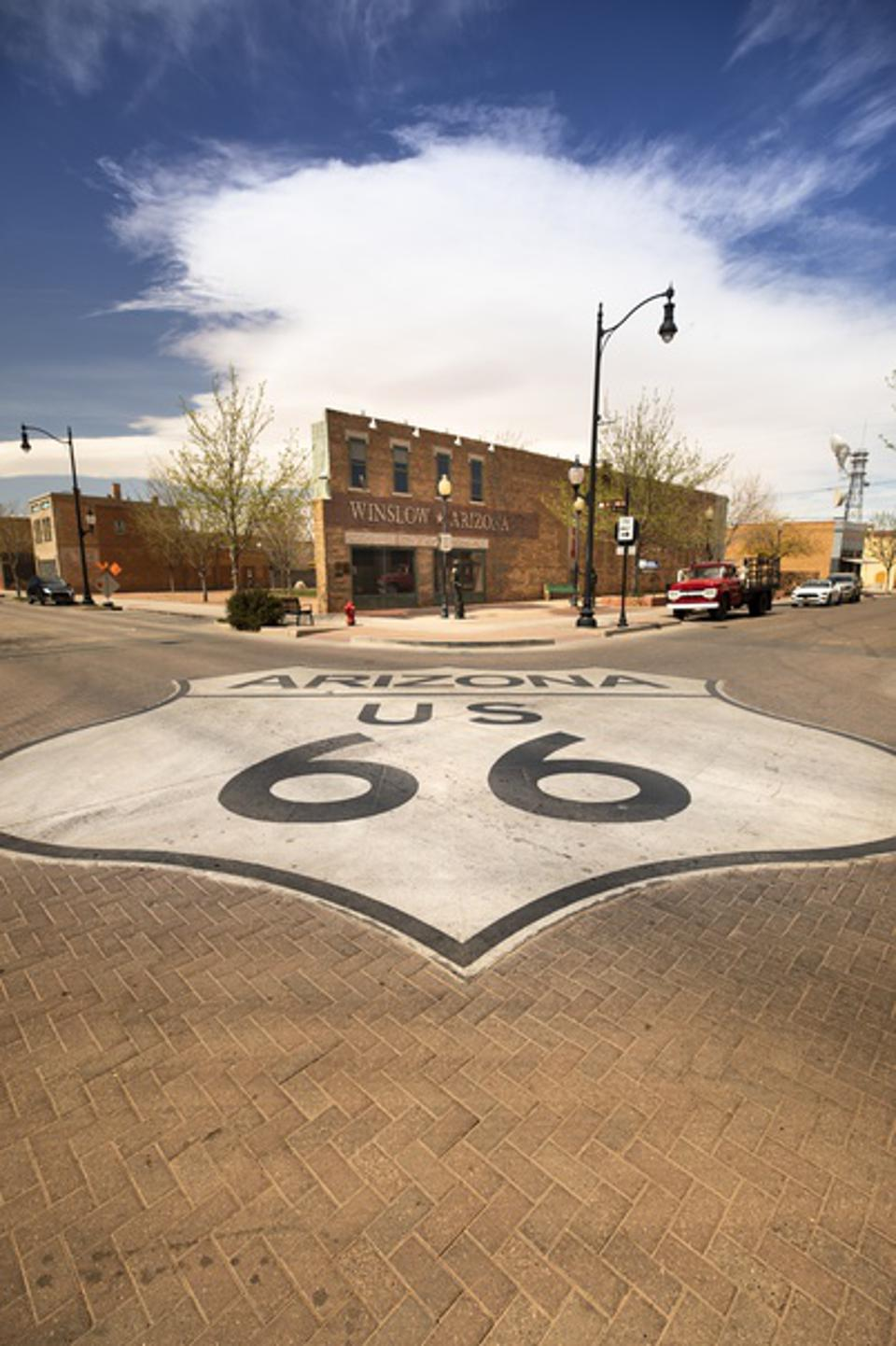 Winslow Arizona downtown intersection along the historic Route 66