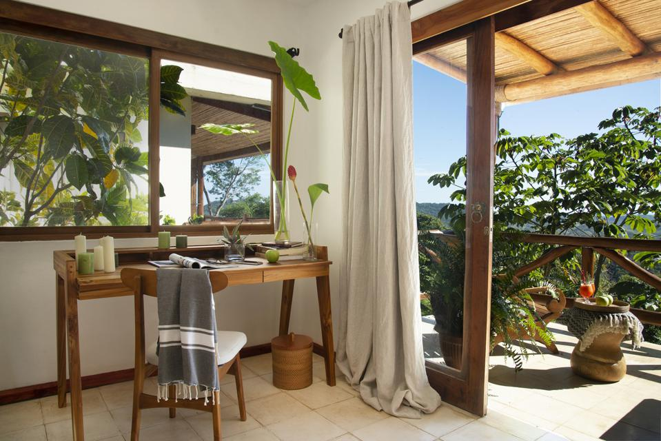 A disk sits beside an open glass door at the Tierra Magnifica in Costa Rica