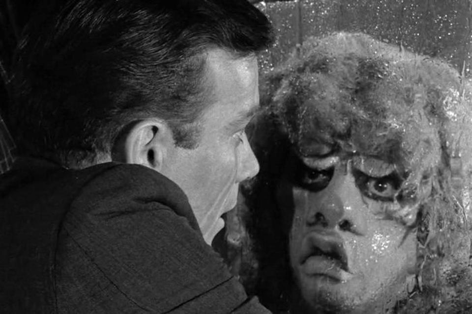 The ″Nightmare at 20,000 Feet″ episode of ″The Twilight Zone″, starring William Shatner, initially aired on October 11, 1963.