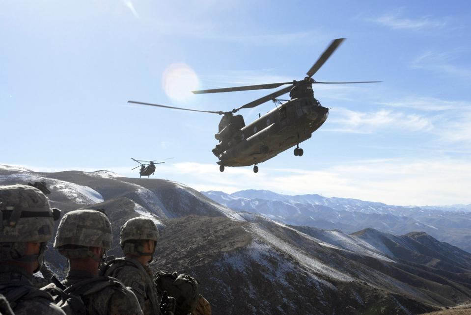 Chinook helicopters in Afghanistan.
