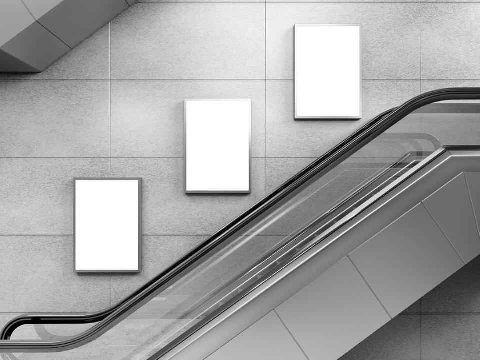 Escalator and small billboards, illustration