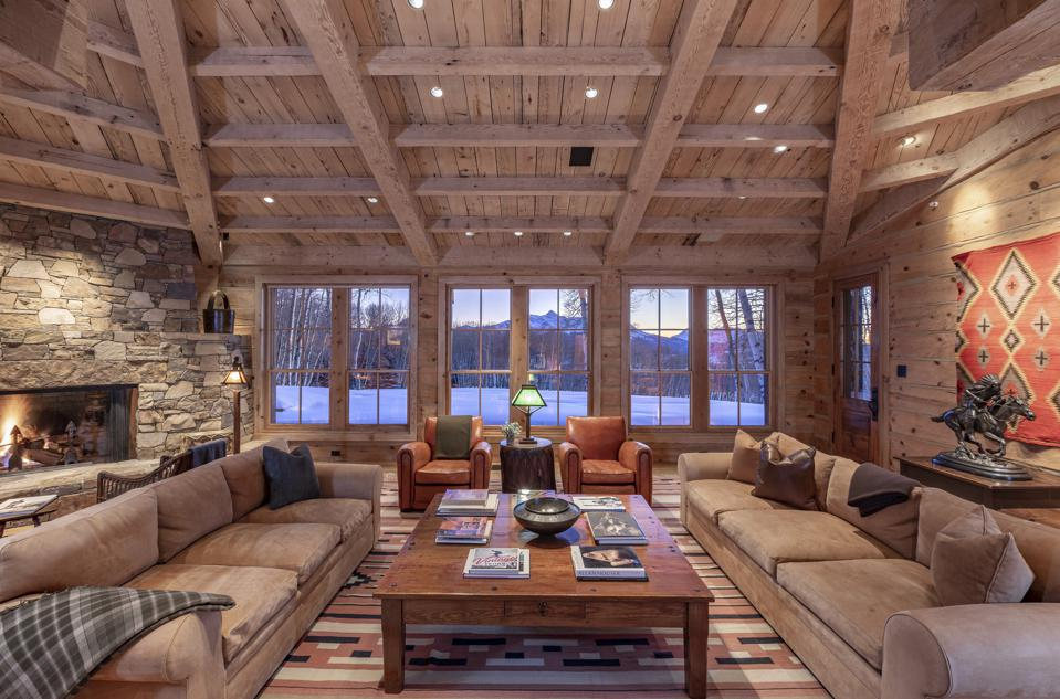 Room with cedar timbers and beamed ceiling