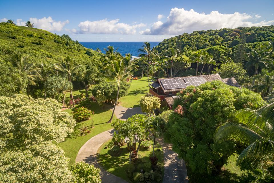 aerial view of ocean and grounds at maui luxury home 707 Puniawa Road