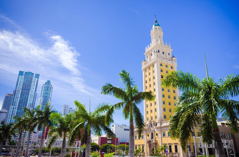 Scenic view of Freedom Tower in downtown Miami Florida