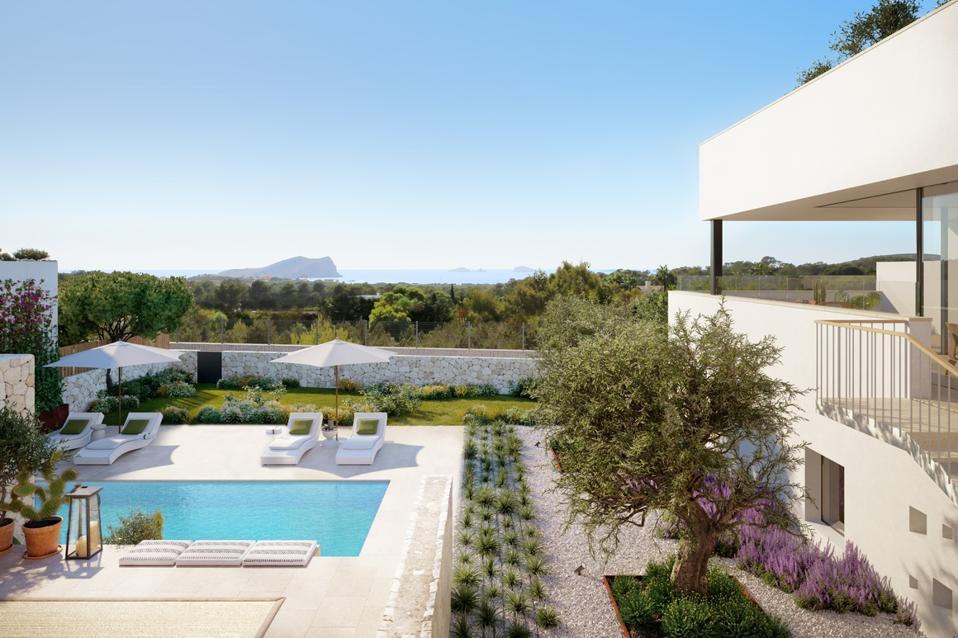 contemporary villa exterior and pool Ibiza, Spain Immobiliaria Rimontgo luxury home