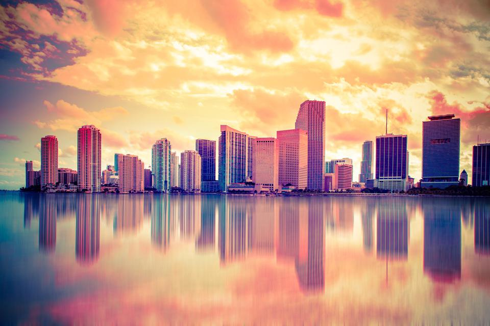 Colorful Sunset Miami Skyline