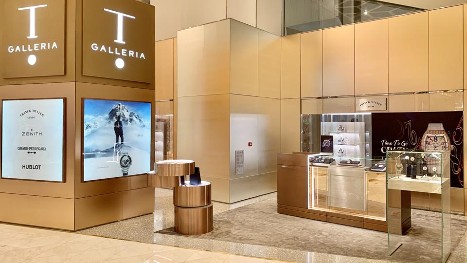 High-end watches at a DFS Galleria pop-up in the Morpheus Hotel, Macau.