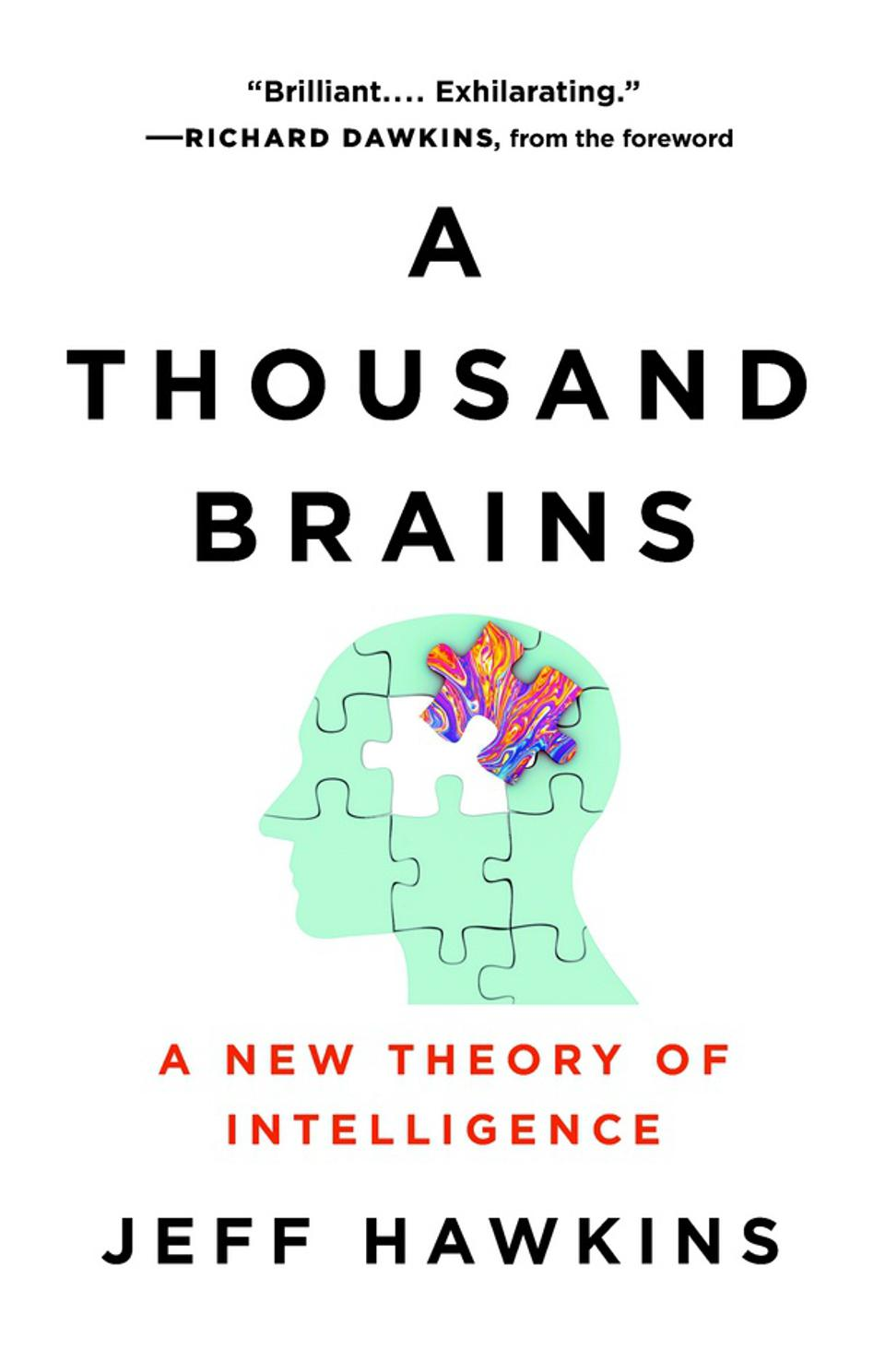 Cover of book A Thousand Brains, with image of brain as jigsaw