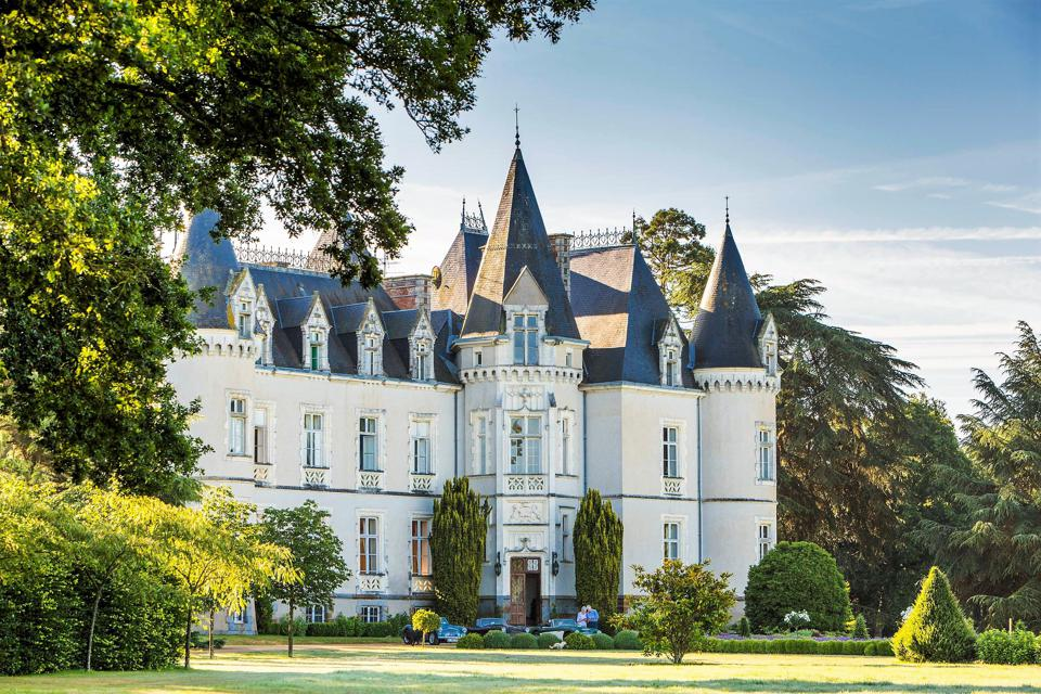 exterior of magnificent restored chateau in brittany vitre, france