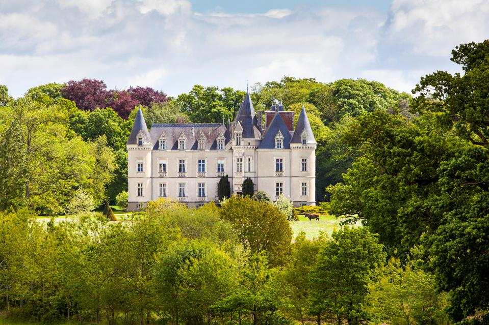 grounds and gardens at restored chateau in vitre, brittany, france