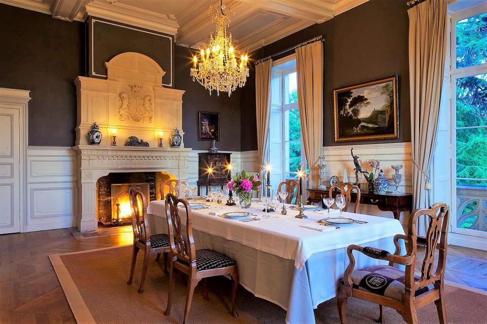 dining room in magnificent french chateau vitre brittany france