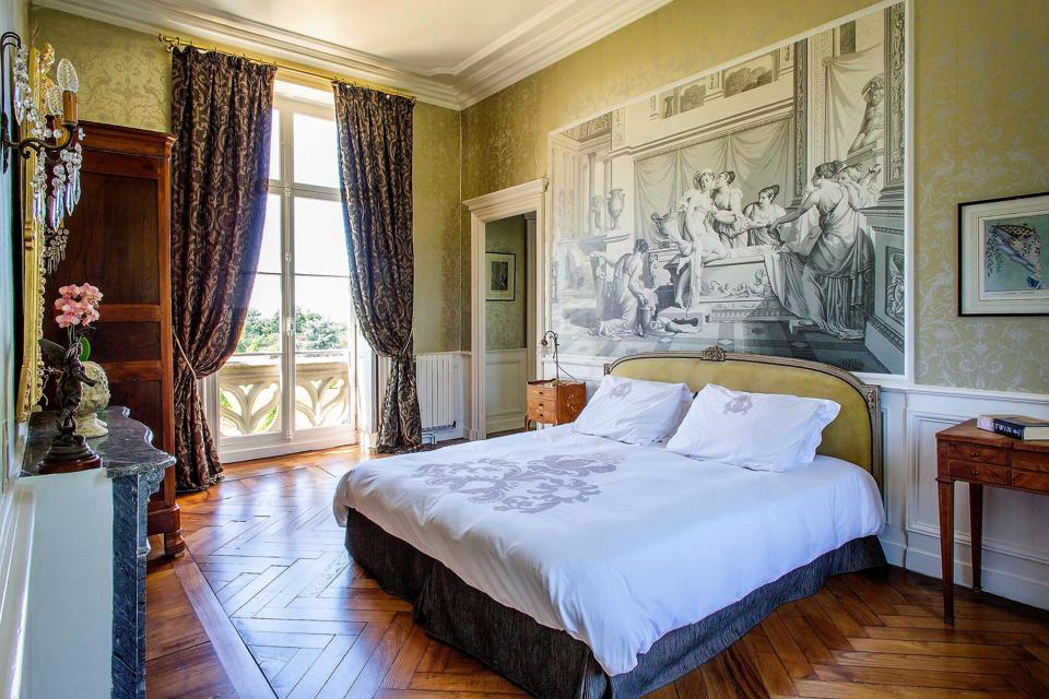 bedroom inside french chateau vitre brittany france