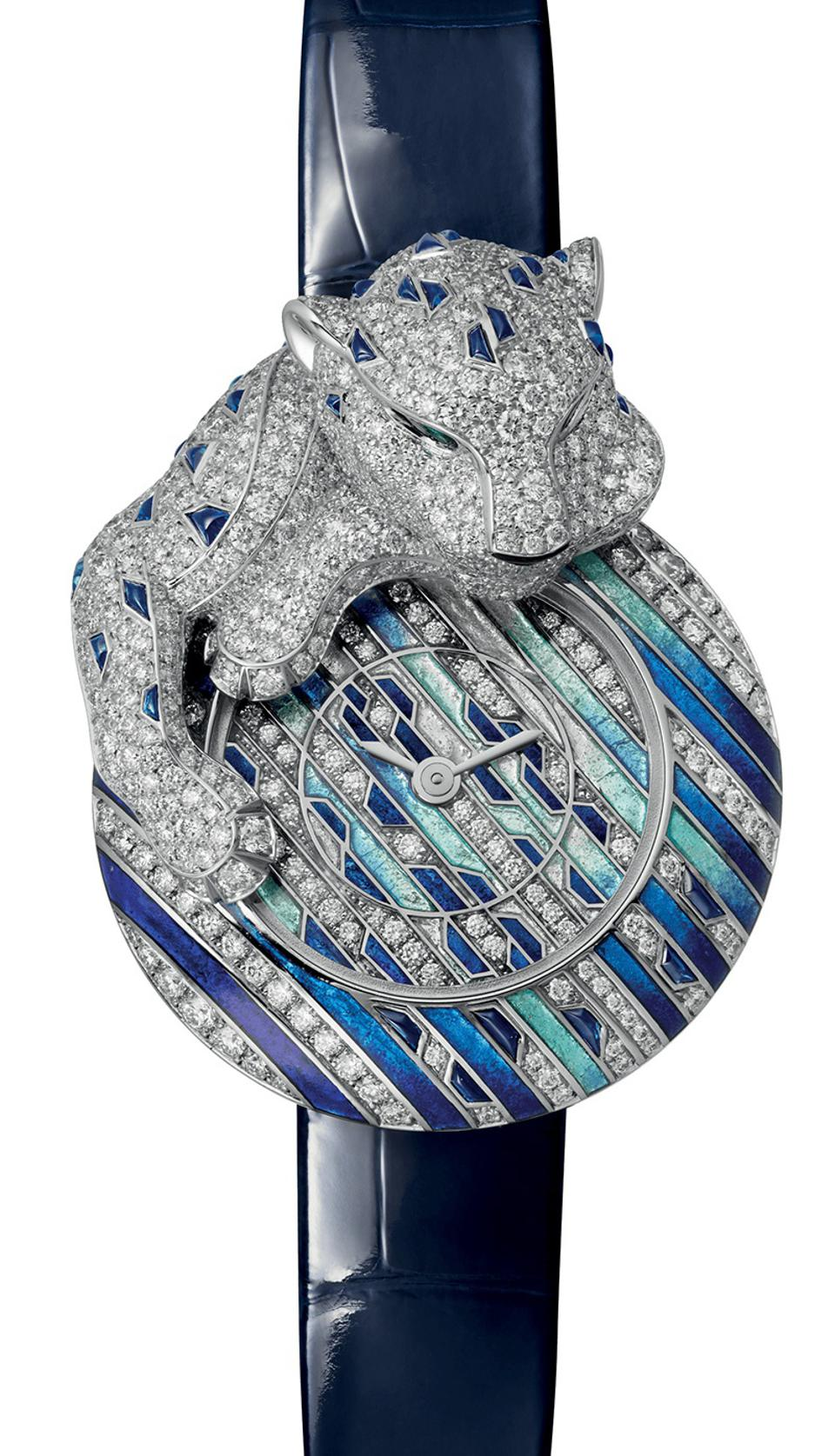 The Cartier Panthère Songeuse, with diamonds and champlevé enamel.