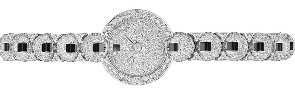 The Cartier Rosary high jewelry watch is set with 1,191 brilliant-cut diamonds totaling 5.57 carats. .