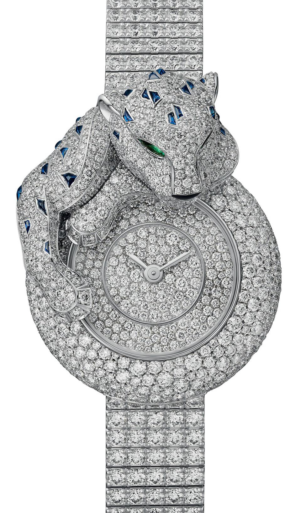 The Cartier Panthère Songeuse, with diamonds and sapphires.