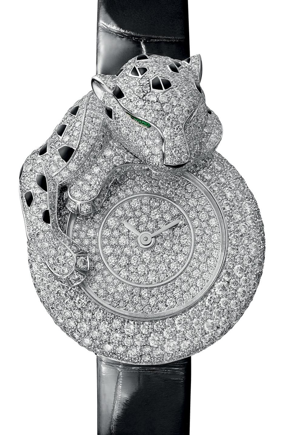 The Cartier Panthère Songeuse, with diamonds and onyx.