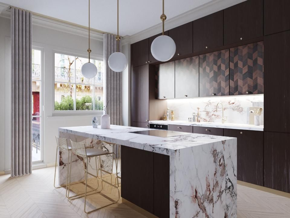 A kitchen with walnut wood and marble
