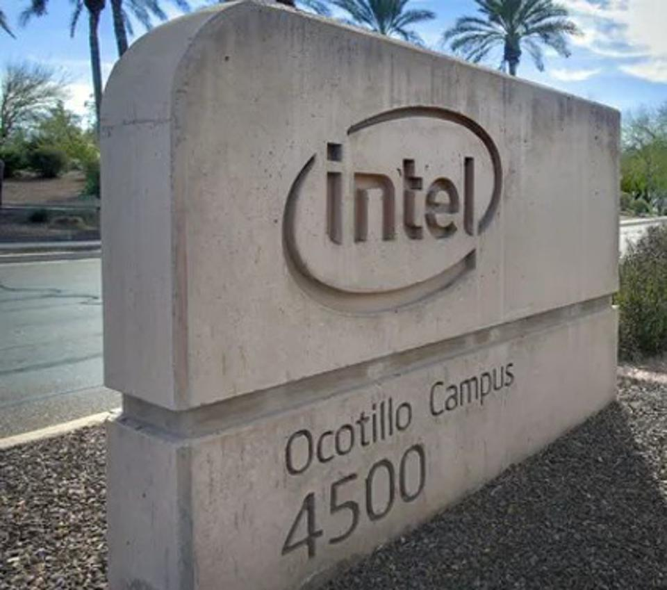 Sign outside Intel's Ocotillo manufacturing facility