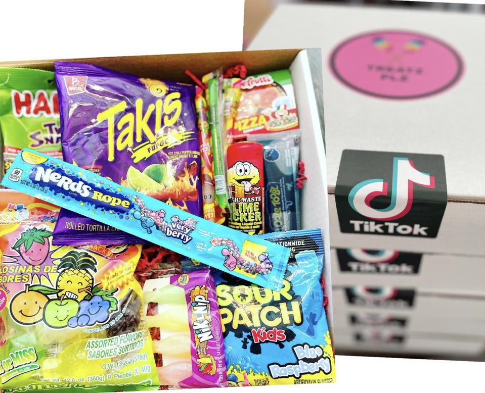 A box of candy with the TikTok logo