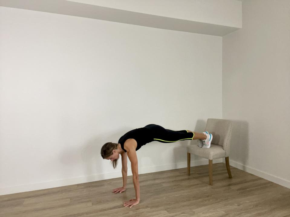 Plank with a hotel desk chair