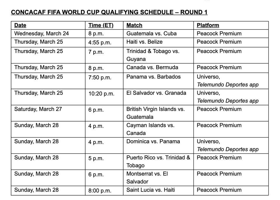 Telemundo's game schedule
