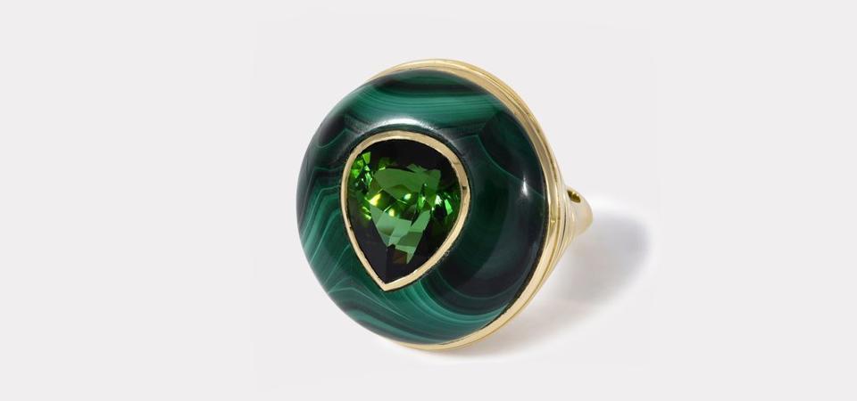 Retrouvai's 18K gold malachite and pear shaped green tourmaline Lollipop ring