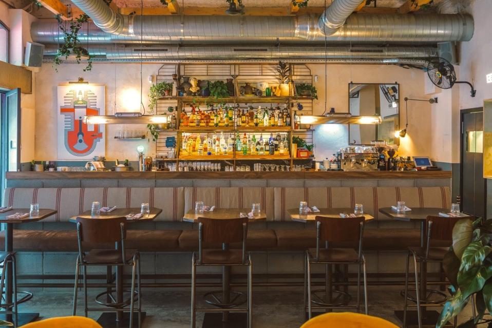 Interior of the bar at Benzina restaurtant Barcelona