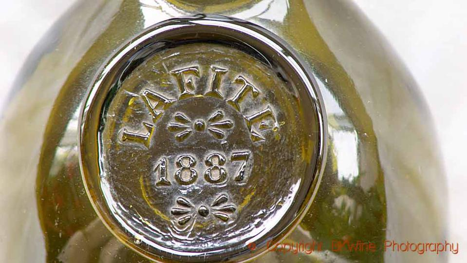 Bottle with an emblazoned medallion saying Lafite 1887