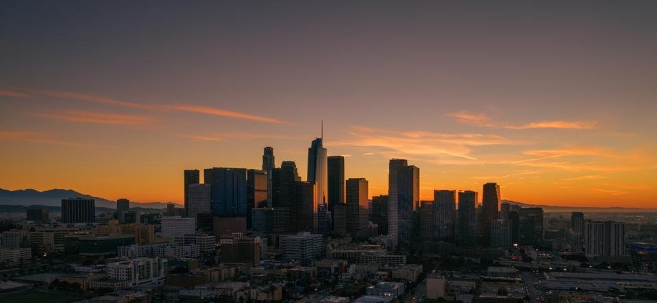 Los Angeles Downtown Dawn from air