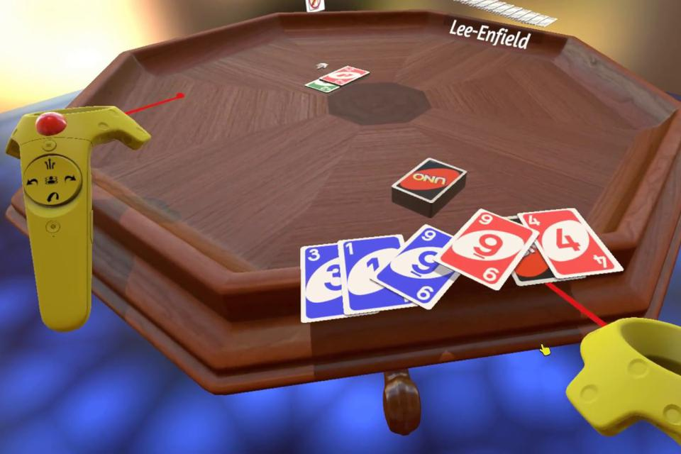 A screenshot of someone playing UNO on Tabletop Simulator in VR mode.