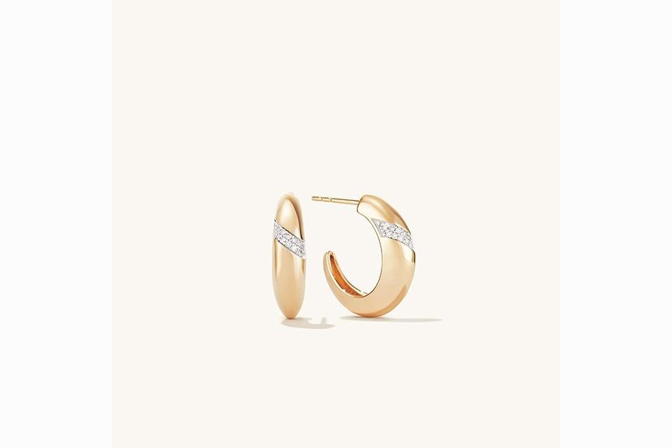 The goop Pavé Diamond Dôme Hoop earrings