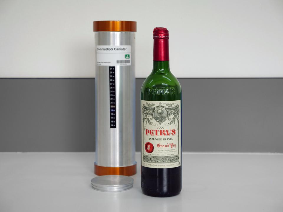 A bottle of 2000 Petrus Pomerol which traveled to space and back.