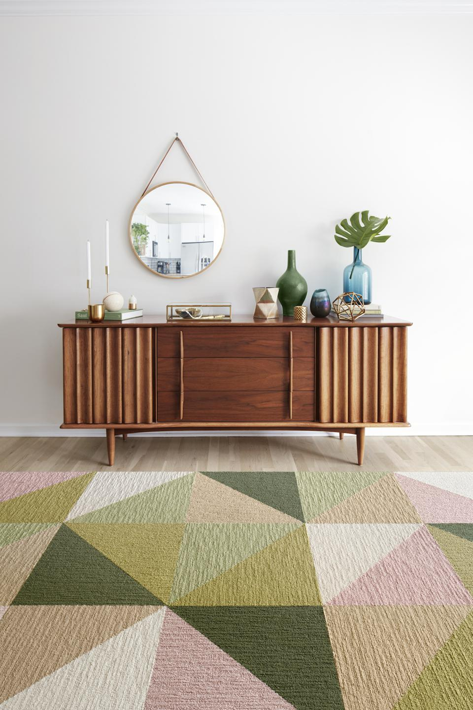 These multicolor FLOR tiles add an interesting look to this modern room design.