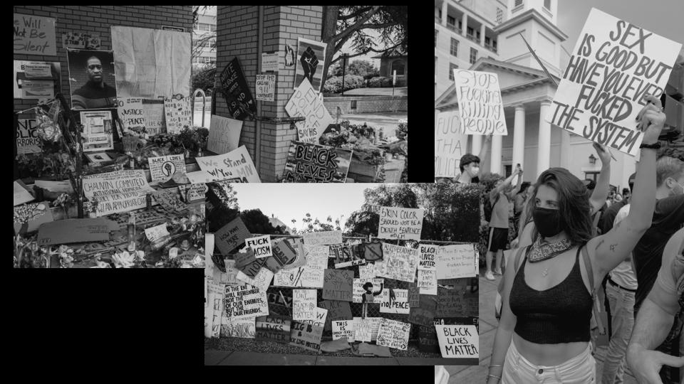 Collage von Protestschildern
