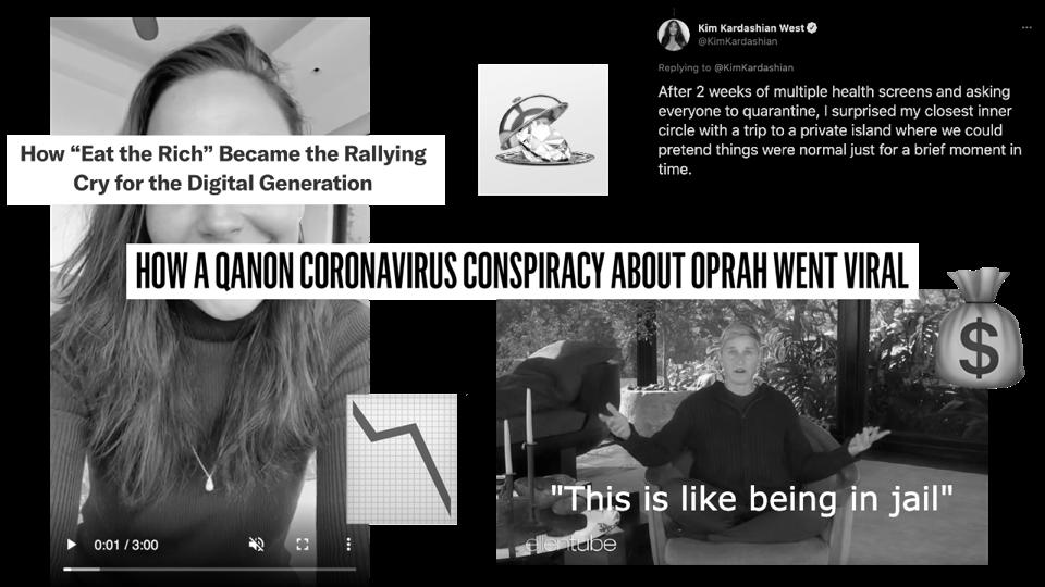 Collage aus Schlagzeilen und Tweets