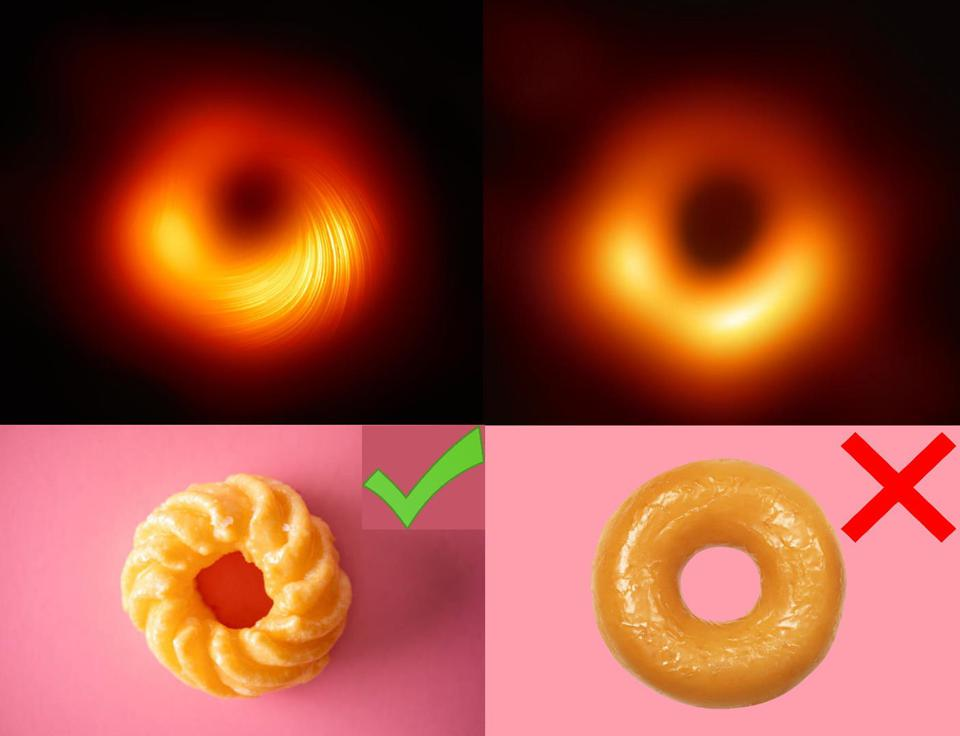 Black holes are more like crullers than donuts, the latest study from the EHT shows.