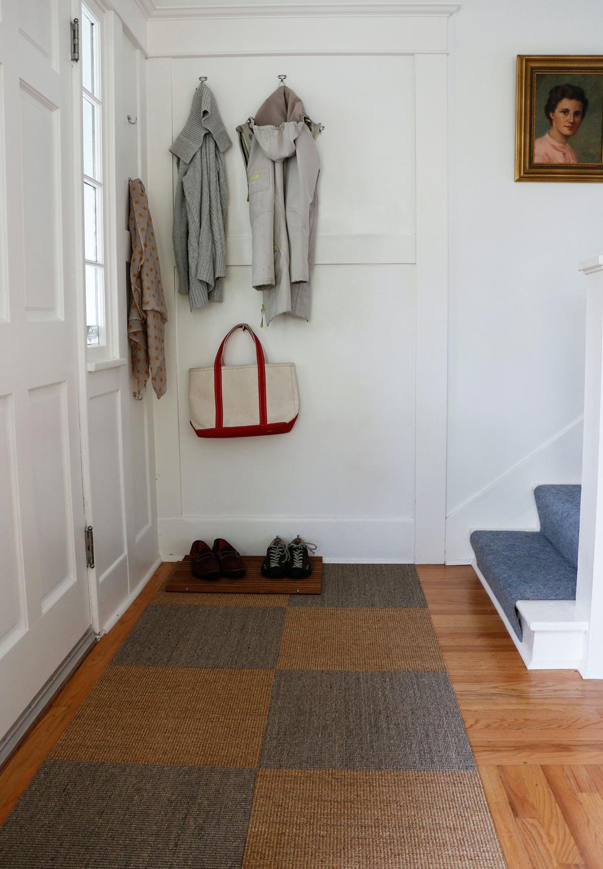 Sisal Carpet tiles installed in alternating colors 'driftwood' and 'sahara.'